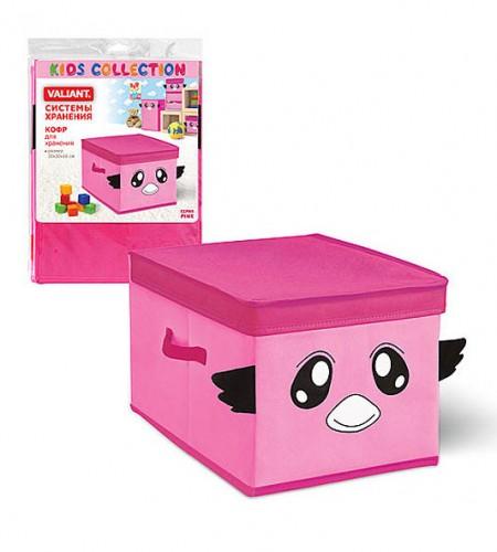 Короб для хранения с крышкой Valiant (розовый, 30×40×25 см)