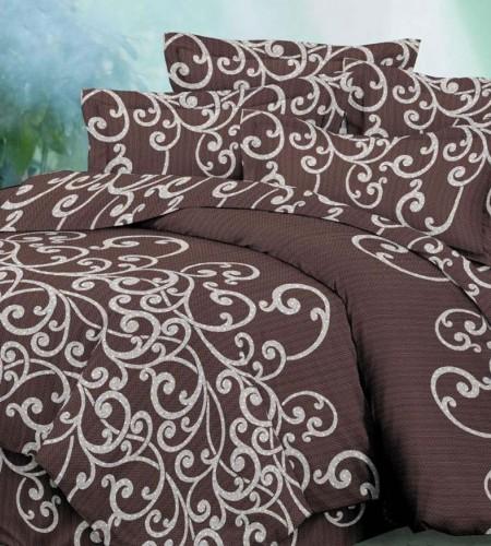 """Комплект постельного белья с простыней на резинке """"Brown"""" (40-0677)"""