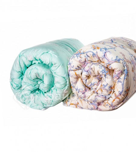 Одеяло с наполнителем Файбертек, цветное (сатин, всесезонное)