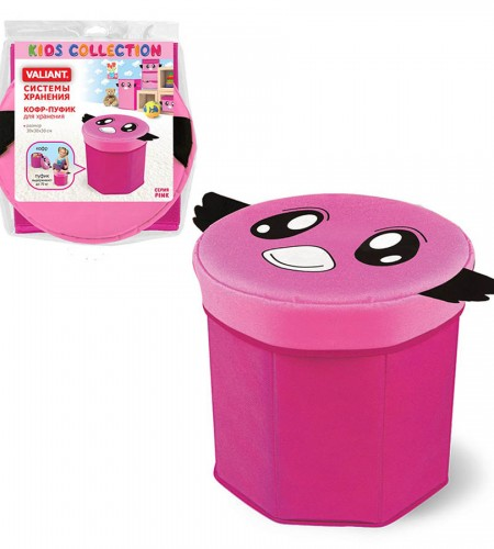 Короб-пуфик для хранения Valiant (розовый, 30×30×30 см) PNK 10